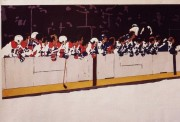 """Caps-Maple Leafs' Bench,"" 24 x 35. Markers on paper"