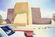 """Ranchos de Taos Church,"" 19 x 26. Oil pastel on paper"
